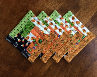 Halloween Quilted Log Cabin Coasters - Pumpkins, Candy Corn, Spiders & Witches - set of 4