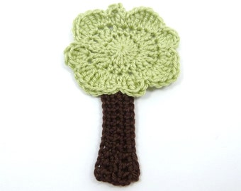 Applique tree, Crochet appliques, 1 green crochet tree, cardmaking, scrapbooking, appliques, craft embellishments, sewing accessories