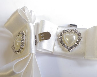 Silk ivory shoe bow clip wedding shoes