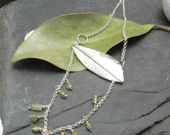 Long Etched Falling Feather Two Tiered Necklace in Sterling Silver with Peridot