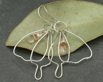 Large Butterfly Earrings with Citrine in Sterling Silver
