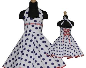 Girls 50's dress for petticoat custom made maritim style ancer embellishment polka dots navy blue white