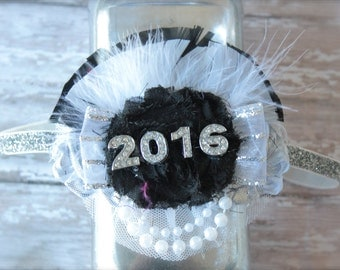 Over the Top 2016 New Years Eve Black White and Sliver Great Gatsby Inspired Headband -Perfect Photo Prop for New Years Eve Ball Celebration