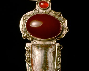 Carnelian and Crazy Lace Mexican Agate Sterling Pendent