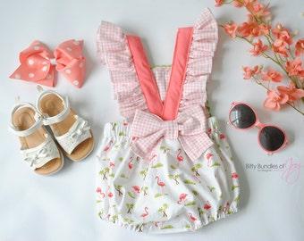 """Baby Tropical Bubble Romper - """"Be a Flamingo"""" Romper - Baby Beach Outfit - Tropical Baby Outfit - Tropical Flamingo Romper"""
