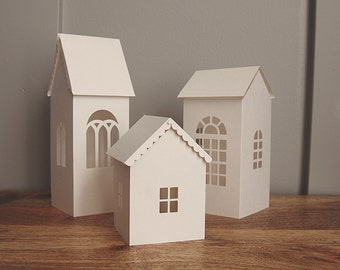 Paper House Luminary SVG Cutting Files, 3D Houses