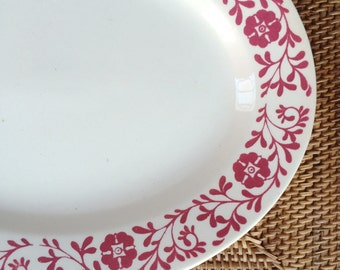 Vintage Platter, Bright Rosy Red Floral Border, Brittany by Homer Laughlin ca. 1950