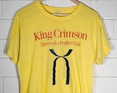 Vintage King Crimson Tee Yellow Three of a Perfect Pair 1984 Small Medium