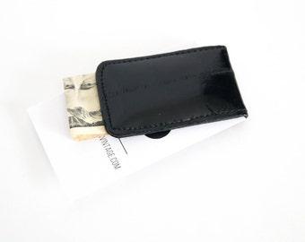 Vintage Money Clip Black Eel Skin 1980s