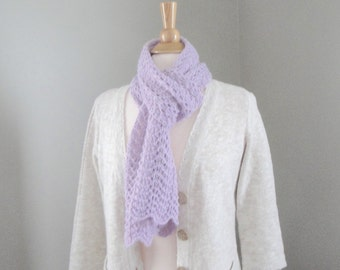 Baby Alpaca Scarf, Pale Lavender, Knitted, Light Lace Lacy Wrap, Elegant Delicate Luxurious