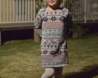Girl's Fair Isle Winter Dresses. Perfect for holiday photos and play dates