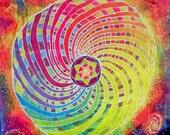 8.5x11in Photo Print of Rainbow Torus Tapestry - Original Artwork - Sacred Geometry