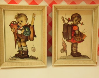 Pair Hummel Prints - Wood Frame