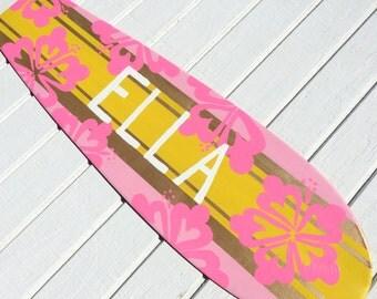 Surfboard Decor, Pink and Yellow Surfboard Wall Art, Beach themed girls bedroom decor