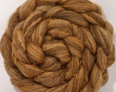 Natural Hand dyed bfl / silk top for spinning  - Chestnut - (4.3 oz.) Mixed Bluefaced Leicester/tussah silk (75/25)