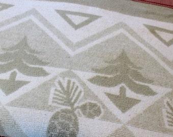 Vintage Cotton Blanket Beacon Pine Cones Trees Pinecones Camp Tan Cream Rustic Bedding