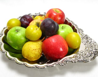 Silver Plated Fruit Bowl, Silver Plated Centrepiece, Rococo Fruit Bowl, Rococo Centrepiece, Large Silver Plated Bowl #051