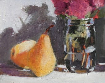 Still Life Painting with Pears and Flowers Original Oil on Flat unframed wood panel, 8x10 inch Canadian Fine Art wall decor
