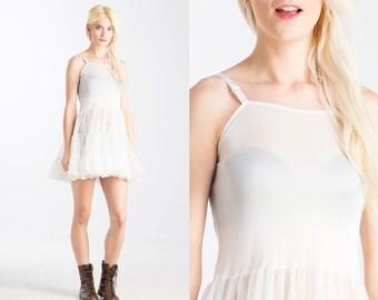 Vintage 90s SLIP Tulle Ballerina MINI White Lace Dress //