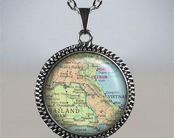 Laos map necklace. Laos necklace, Laos map pendant, map jewelry, map jewellery, vintage map pendant vintage map necklace