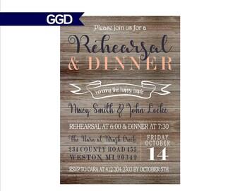 Vintage Wood Rehearsal Dinner Invitation, rustic rehearsal and dinner invite, wedding rehearsal dinner invitation
