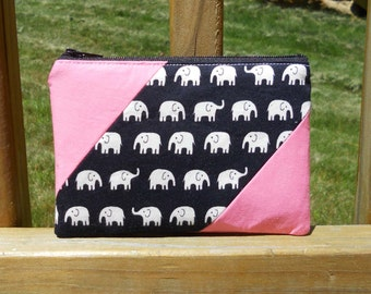 Zipper Pouch, Elephants with Black and Pink, One of a Kind