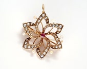 Sweet Edwardian 14K Gold, Ruby, and Seed Pearl Star Brooch / Pendant