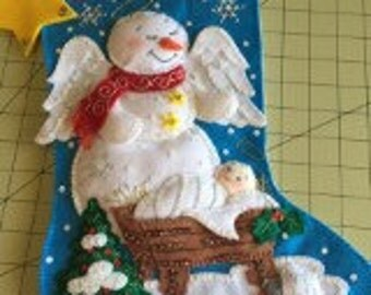 "Bucilla Completed Felt Christmas Stocking Snow Angel 18"" long"