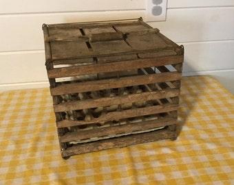 Antique Primitive Wood Egg Crate