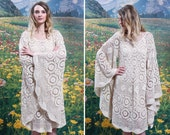 60s Epic BELL SLEEVE Boho CROCHET Dress 1960s Cream Cotton Lace See Through Bohemian Festival Goddess Mini Dress (small)