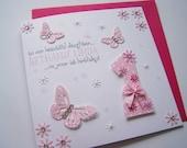 Beautiful Butterflies & Flowers Handmade Birthday Card!