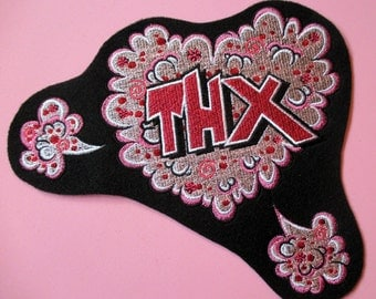 Jumbo Size Embroidered Word Applique Patch, THX, Thanks, Jacket Patch, Home Decor, Crafts, Quilts, and More, A Huge Thank You Patch, PINK