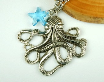Long Octopus Necklace In Silver, Octopus Jewelry, Gift For Her, Boho Necklace, Beach Necklace With Crystal Starfish,Beach Jewelry,Nautical