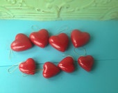 Set of Eight Red Paper Mache Heart Ornaments, Vintage Christmas Ornaments, Paper Mache Hearts Crafting Supplies