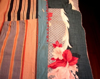 """Vintage Patchwork Barkcloth Quilt top 52"""" x 72"""