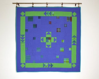 Modern Baby Quilt, Blue Baby Quilt, Geometric Baby Quilt, Crib Blanket, Quilted Wall Hanging