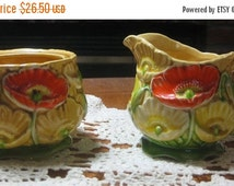 15% Off Sale Retro Orange Yellow White Poppy Sugar Creamer-1970's