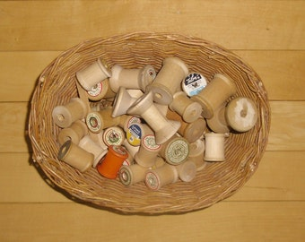 Vintage Wood Spools - 40 Wooden Spools, Vintage Wicker Basket of Spools, Thread Spools, Altered Art Supplies, Craft Supplies
