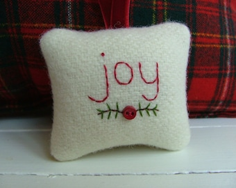 joy - Embroidered Christmas Ornament - Off-White Pendleton Wool