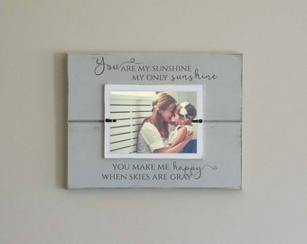You are my sunshine frame, nursery photo frame, newborn photo frame, custom personalized frame, my only sunshine