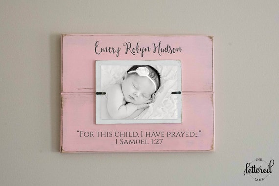 For this child I have prayed picture frame, newborn photo frame, adoption gift frame, rainbow baby picture display