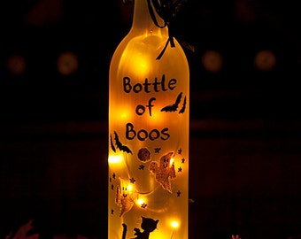 Halloween Bats Lighted Wine Bottle Hand Painted Bottle of Boos Battery Operated Orange LED Light Spooky Ghost Black Cat Accent Lamp