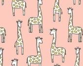 Gentle Giraffes on Cotton Flannel (Blossom)- Baby Zoo Flannel - Michael Miller Fabrics - 1 Yard
