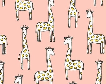 Gentle Giraffes on Cotton Flannel (Blossom)- Baby Zoo Flannel - Michael Miller Fabrics - 1 Yard