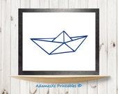 Origami boat printable, Nautical sea life nursery print, Navy blue, Modern minimalist printable art, Sailing ship wall room decor *2 for 6*!