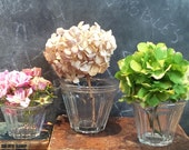 3 Antique French heavy glass Jam jars, Jelly jars or Jam pots