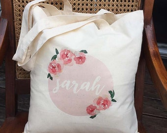 Pink Flower Watercolour Tote Bag - Personalised - Shower favour bag - birthday gift bag