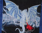 Quilted Wall Hanging, Dragon Art, Fantasy Art, Dragon Quilt