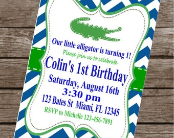 PREPPY CHEVRON ALLIGATOR Happy Birthday Party or Baby Shower Invitations Set of 12 {1 Dozen} - Party Packs Available