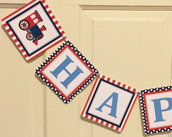 VINTAGE TRAIN Choo Choo Happy Birthday or Baby Shower Party Banner - Navy Red - Party Packs Available